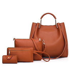 Women's Bags PU Leather Bag Set 4 Pieces Purse Set Zipper Solid Color for Daily / Office  Career Black / Blue / Red / Blushing Pink / Bag Sets / Fall  Winter