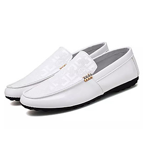 Men's Loafers  Slip-Ons Moccasin Outdoor Patent Leather White / Black Spring