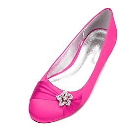 Women's Wedding Shoes Glitter Crystal Sequined Jeweled Plus Size Flat Heel Round Toe Basic Sweet Wedding Rhinestone Ribbon Tie Solid Colored Satin Summer White