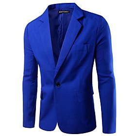 Men's Blazer Regular Solid Colored Daily Work White / Black / Wine M / L / XL