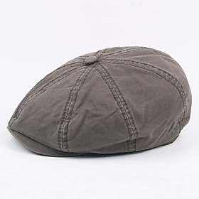 Men's Vintage Work Cotton Polyester Beret Hat-Solid Colored Fall Winter Gray Army Green Khaki