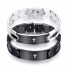 Men's Vintage Bracelet Bracelet Vintage Style Link / Chain Cross Letter Classic Vintage European Steel Stainless Bracelet Jewelry Black / Silver For Street Fes