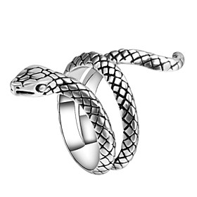 Men's Statement Ring Ring wrap ring 1pc Silver Alloy irregular Vintage Punk Trendy Carnival Club Jewelry Sculpture Snake Animal Cool