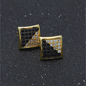 Men's Cubic Zirconia Stud Earrings Stylish Mini Precious European Trendy Hip-Hop Rhinestone Earrings Jewelry Gold / Silver For Wedding Masquerade Engagement Pa