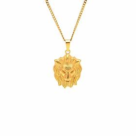Men's Pendant Necklace Chain Necklace Stylish Cuban Link Engraved Lion Stylish European Hip-Hop Hip Hop Steel Stainless Gold 60 cm Necklace Jewelry 1pc For Mas