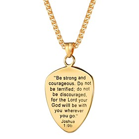 Men's Pendant Necklace Rope Engraved Cross Faith Fashion Army Stainless Steel Gold Black Silver 55 cm Necklace Jewelry 1pc For Gift Daily