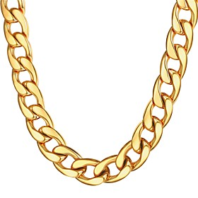 Men's Chain Necklace Thick Chain Mariner Chain Hyperbole Fashion Dubai Hip Hop Stainless Steel Black Gold Silver 55 cm Necklace Jewelry 1pc For Gift Daily