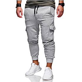 Men's Basic Daily wfh Sweatpants / Cargo Pants - Solid Colored Spring Fall Army Green Khaki Light gray L XL XXL