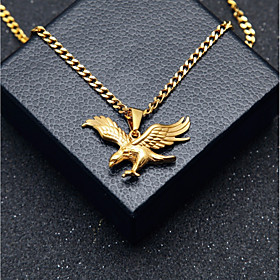 Men's Pendant Necklace Chain Necklace Stylish Cuban Link Eagle Stylish European Hip-Hop Steel Stainless Gold 60 cm Necklace Jewelry 1pc For Gift Street