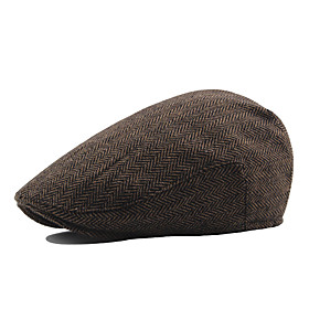 Men's Vintage Work Cotton Polyester Beret Hat-Solid Colored Fall Winter Brown White Black