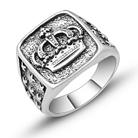 Men's Ring Signet Ring 1pc Silver Alloy Square Cut irregular Vintage European Trendy Daily Festival Jewelry Sculpture Crown