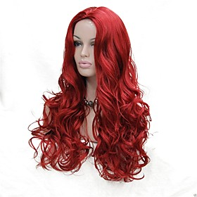 Synthetic Wig Curly Middle Part Wig Long Red Synthetic Hair Women's Synthetic Red StrongBeauty