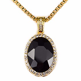 Men's Sapphire Cubic Zirconia Synthetic Ruby Pendant Necklace Chain Necklace Vintage Style Solitaire Simulated Creative Precious Stylish Classic Hip-Hop Hip Ho