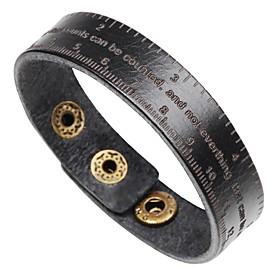Men's Bracelet Bangles Leather Bracelet Bracelet Single Strand Handwriting Bracelet Letter Classic Fashion Leather Bracelet Jewelry Black / Coffee / Brown For