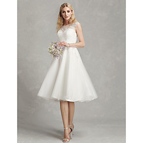 A-Line Wedding Dresses Jewel Neck Tea Length Lace Tulle Cap Sleeve Beautiful Back with Appliques 2020