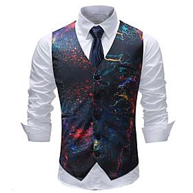 Men's V Neck Vest Geometric Color Block Plaid Plus Size Rainbow M / L / XL