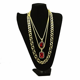 Men's AAA Cubic Zirconia Statement Necklace Long Necklace Layered Retro Thick Chain Creative Dubai Hip Hop Alloy Gold 30/54/76 cm Necklace Jewelry 3pcs For Car