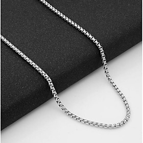 Men's Chain Necklace Single Strand Baht Chain Mariner Chain European Titanium Steel Silver 55 cm Necklace Jewelry 1pc For Daily