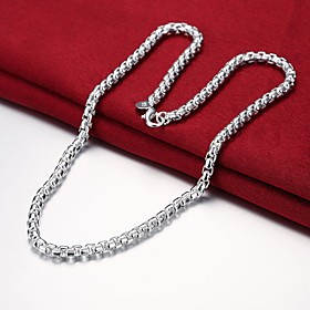 Men's Chain Necklace Single Strand Mariner Chain Simple Basic Fashion Copper Silver Plated Silver 50 cm Necklace Jewelry 1pc For Daily Work