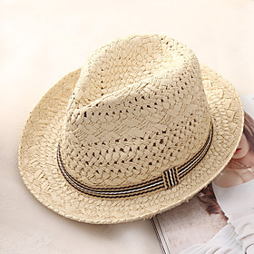 Men's Basic Holiday Straw Straw Hat-Color Block Summer Beige Khaki
