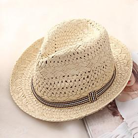 Men's Basic Holiday Straw Straw Hat-Color Block Summer Beige Khaki