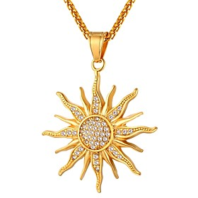 Men's Pendant Necklace Rope franco chain Sun Fashion scottish Hip Hop Stainless Steel Gold Silver 55 cm Necklace Jewelry 1pc For Wedding Gift Daily Masquerade