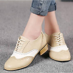 Women's Oxfords Lace up Block Heel Round Toe Comfort Daily Party  Evening Color Block PU Walking Shoes Summer Beige / Gray / Coffee