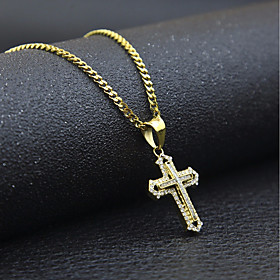 Men's Cubic Zirconia Pendant Necklace Chain Necklace Stylish Cuban Link franco chain Cross Faith Stylish European Hip-Hop Hip Hop Rhinestone Steel Stainless Go