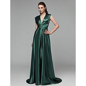 A-Line Elegant Minimalist Open Back Prom Formal Evening Dress Plunging Neck Sleeveless Sweep / Brush Train Satin Chiffon with Bow(s) Split