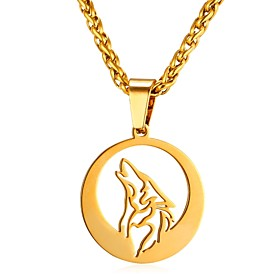 Men's Pendant Necklace Rope Animal Wolf Fashion Stainless Steel Gold Silver 55 cm Necklace Jewelry 1pc For Gift Daily