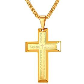 Men's Pendant Necklace Vintage Style Cross Body Cross Inspirational Hip Hop Stainless Steel Black Gold Golden Stripe Cross Black Stripe Cross Golden Zircon Cro