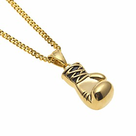 Men's Pendant Necklace Chain Necklace Cuban Link Boxing Gloves European Trendy Hip-Hop Copper Steel Stainless Gold Silver 60 cm Necklace Jewelry 1pc For Gift S