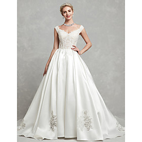 Ball Gown Wedding Dresses V Neck Chapel Train Lace Satin Cap Sleeve with Lace Beading Appliques 2020