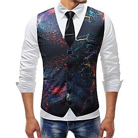 Men's V Neck Vest Regular Color Block Rainbow Daily Basic Plus Size Sleeveless Rainbow M / L / XL / Slim
