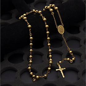 Men's Pendant Necklace Y Necklace Stylish Beads Rosary Chain Cross Faith Crucifix Stylish European Trendy Steel Stainless Gold 75 cm Necklace Jewelry 1pc For S