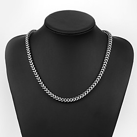 Men's Chain Necklace Braided Baht Chain Creative Vintage Punk Steel Stainless Black 50 cm Necklace Jewelry 1pc For Daily Street