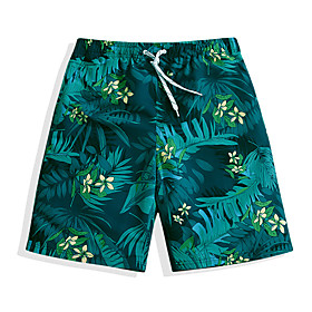 Men's Swim Shorts Swim Trunks Board Shorts Quick Dry Drawstring - Beach Watersports Floral / Botanical Summer / Micro-elastic