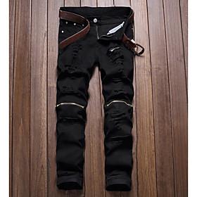 Men's Punk  Gothic Daily Chinos Pants - Geometric White Black Red 28 / 29 / 30