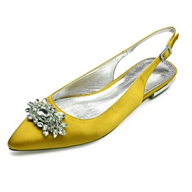Women's Wedding Shoes Glitter Crystal Sequined Jeweled Plus Size Flat Heel Pointed Toe Basic Wedding Party  Evening Rhinestone Crystal Solid Colored Satin Summ