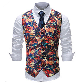 Men's V Neck Vest Polka Dot Geometric Plus Size Rainbow M / L / XL