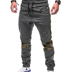 Men's Basic / Street chic Plus Size Daily Weekend Slim wfh Sweatpants / Cargo Pants - Solid Colored / Color Block Patchwork Black Gray Khaki XXL XXXL XXXXL