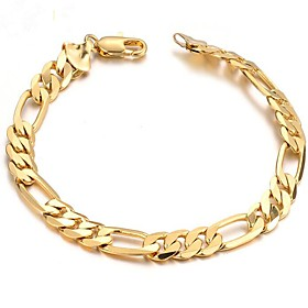 Men's Chain Bracelet Stylish Creative Fashion 18K Gold Plated Bracelet Jewelry Gold For Daily Date