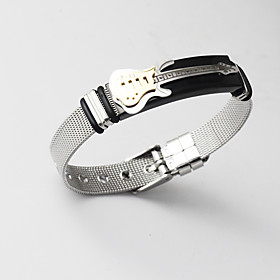 Men's Cuff Bracelet Loom Bracelet Link Bracelet Classic Stylish Music Creative Guitar Statement Unique Design Fashion 18K Gold Plated Bracelet Jewelry Gold For