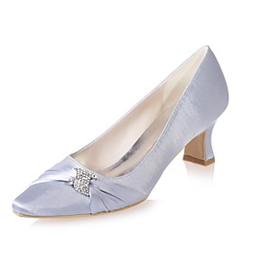 Women's Wedding Shoes Spool Heel Square Toe Rhinestone Satin Basic Pump Spring  Summer Blue / Pink / Ivory / Party  Evening