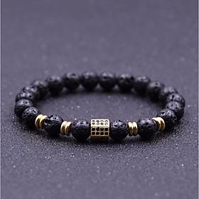 Men's Cubic Zirconia Natural Stone Bead Bracelet Stylish Beads Creative Chakra Stylish Vintage Casual / Sporty equilibrio Rhinestone Bracelet Jewelry Black / S