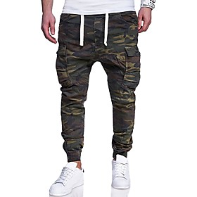 Men's Active Basic Military Plus Size Weekend Slim Sweatpants Tactical Cargo Pants Camo / Camouflage Print Army Green M L XL