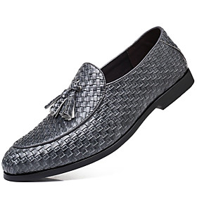 Men's Loafers  Slip-Ons Dress Shoes British Party  Evening Office  Career Faux Leather Wine / Black / Gray Spring / Fall / Tassel / Tassel
