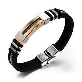 Men's Chain Bracelet Hologram Bracelet Vintage Style Classic Creative Vintage Punk Silica Gel Bracelet Jewelry Black / Silver / Rose Gold For Daily Work / Stee