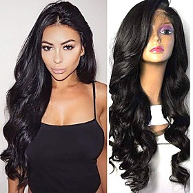 Synthetic Wig Synthetic Lace Front Wig Wavy Kardashian Layered Haircut Lace Front Wig Long Black#1B Dark Brown Synthetic Hair 26 inch Women's Soft Adjustable B