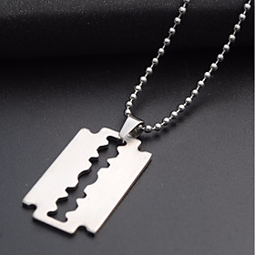 Men's Pendant Necklace Long Necklace Beads Creative Trendy Casual / Sporty Fashion Army Titanium Steel Steel Stainless Silver 60 cm Necklace Jewelry 1pc For Da